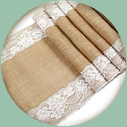 Burlap Table Runner w/ Lace
