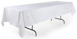 8' White Rectangle Tablecloth (Polyester)