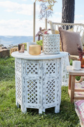 Moroccan Timber Side Table - White