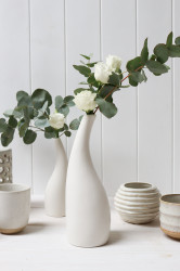 Vase - White Ceramic Swan Tall