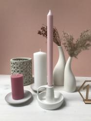 Candlestick ~ White Stoneware Taper