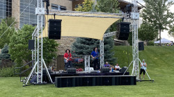 16x20 Outdoor Stage Package w/ Shade Sail and Concert Audio