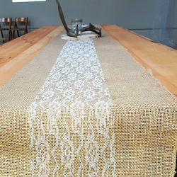 linen 12x107 burlap and white lace runners