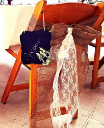 linen- burlap and white lace chair bow