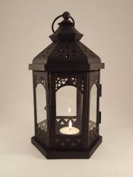 Lanterns- Medium black Hexagon