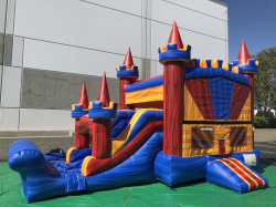 Deluxe Bounce Castle / Water Slide Marble Rainbow Combo