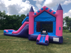 Pink & Blue Bounce House Combo with Slide